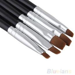 Wholesale nail art flat brush - 5PCS per Set Nail Art Acrylic UV Gel Salon Pen Flat Brush Kit Dotting Nail Art Tool 000L 01BL
