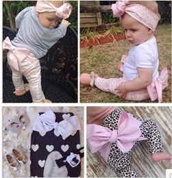 Wholesale Harem Pants Bow Girls - INS wholesale new 2016 Autumn Spring baby girls infant toddler cotton leopard love heart print leisure bowknot big bow harem PP pants A8