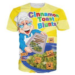 Wholesale Food Prints - tshirts fashion women men Cinnamon Toast Blunts print Crewneck t shirt funny food t shirt Casual cartoon tee shirt 3d t-shirts