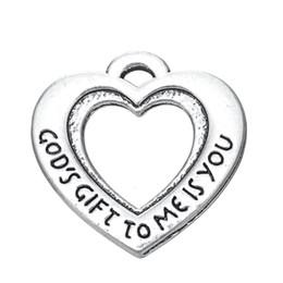 O presente do deus 10pcs para mim é você gravado no encanto dos lados do dobro do coração de
