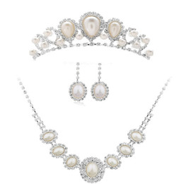 Wholesale Wholesale Bridal Necklaces For Cheap - Fashion Bridal Jewelry Wedding Tiaras Earrings and Necklace Best Rhinestone Cheap Price Jewelry Sets for Brides 046