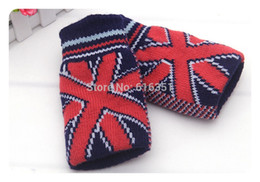 Wholesale Six Flags - Wholesale-Hot selling outdoor winter men UK flag letter knitted gloves mittens half gloves six colors selection