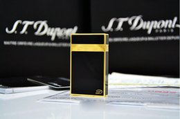 Wholesale 100 New ST memorial Dupont lighter Pure copper Gold black paint bright sound gas lighter