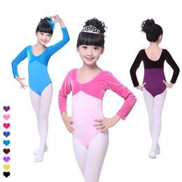 Wholesale Kids Gymnastic Dress - Kid Girls Long Sleeve ballet leotards Dance Dress Fitness Gymnastics Wear Leotard Costume