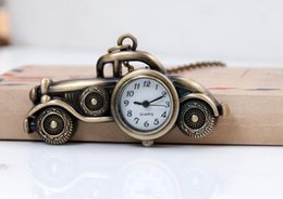 Wholesale Old Watches Necklaces - Vintage classic bronze alloy Unique design cartoon old car quartz children students pendant Necklace chain watch