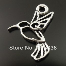 Wholesale Fly Charm - Vintage 100pcs Antique Silver Hummingbird Bird Fly Charms Pendants For Bracelet Necklace Jewelry Making DIY Accessories M2171