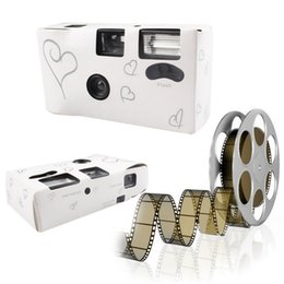 Wholesale Bridal Cards - 5Pcs lot Silver Funny Heart Disposable Wedding Bridal Cameras With Flash and Table Card