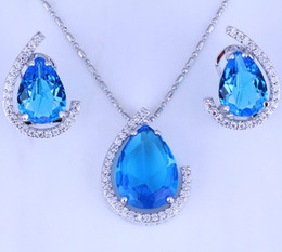 Wholesale Topaz Earrings Necklace - Teardrop Shape Blue Sky Topaz White Cubic Zirconia Necklace Pendant Earrings Silver Plated Wedding Jewelry Sets Free Gift Bag H0006