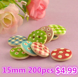 Wholesale Handmade Wooden Buttons - 200pcs15mm 2hole Mixed Multi-color polka dot small polka dot rustic plaid handmade diy accessories small wooden buttons