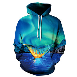 Wholesale Mens Tails - Stylish Blue Nebula Mermaid Tail 3D Print Sweatshirt Womens Mens Hoodies Pullover Coat Tracksuit Hooded Tops