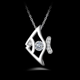 Wholesale Diamond Fish Jewelry - Free shipping fashion high quality 925 silver Fish with diamond jewelry 925 silver necklace Valentine's Day holiday gifts hot 1624