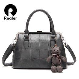 Wholesale Leather Women Teddy - Wholesale-Realer brand women handbag with a Teddy Bear high quality designer handbag PU leather tote bag female gray handbag