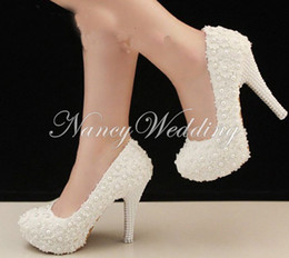 Wholesale White Prom Shoes Beading - Free Shipping Elegant White Lace Beading Wedding Shoes 4 Inches High Heels Bridal Dress Shoes Prom High Heels Bridesmaid Shoes
