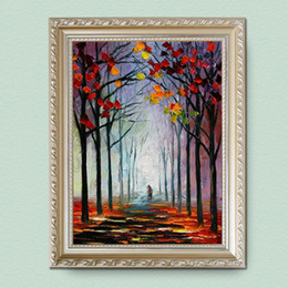 Wholesale Texture Canvas Art - Autumn and winter 100% Hand painted color landscape canvas painting high quality thick texture of modern home decoration art JL189