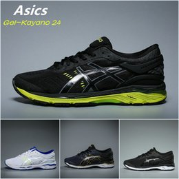 Wholesale Red Light Gels - 2017 Asics Originals Gel-Kayano 24 Black Light green Cushioning Running Shoes T749N-9085 Mens Boots Athletic Sport Sneakers US 5.5-10