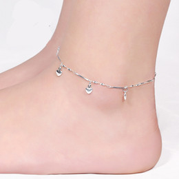 Wholesale Christmas Plate Sale - Hot Sales Romantic Five Heart Anklets Twisted Singapore Chain Fashion Jewelry Female 925 Sterling Silver Anklets Exquisite New