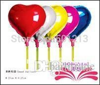 Wholesale Small Heart Balloons - Free shipping 8.5inch small foil balloon heart foil balloon within stick toy for children