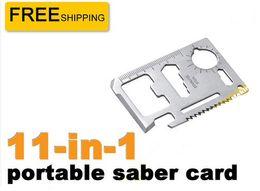 Wholesale Steel Survival Card - 11 in 1 card knife Stainless Steel Multi Function Emergency Survival Card Pocket Knife Best CampTool