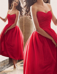 Wholesale Cheap Elegant Elie Saab Dress - Elegant Red Evening Dresses A-line Sweetheart Ankle Length Graduation Dresses Elie Saab Formal Prom Party Gowns Cheap Plus Size