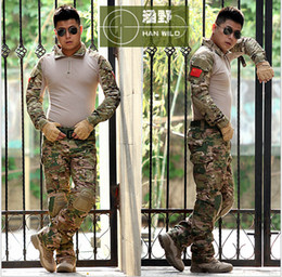 Wholesale Shirt Padded - Tactical army GEN 3 Battle Suit Shirt Pants Assault uniform US G.I Issue Frog Airsoft Trousers multicam Suit with knee pad
