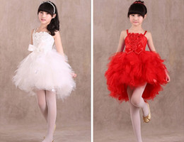 Wholesale Chiffon Baptism Dresses - 2015 Baby Girls chiffon Rose Christening Gown Infant Suspenders Baptism Dress Baby Flower Lace Yarn Dresses Wedding Red White D4225