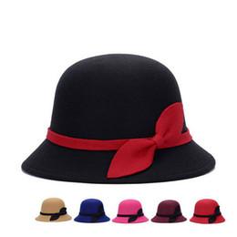 Wholesale Elegant Formal Hats - Elegant Bowknot Top Hats Women Lady Wool Felt Caps Spring & Autumn Vintage Cloche Bowler Stringy Brim Hats High Quality DCBF126