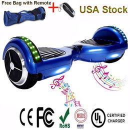 Wholesale Wholesale Electric Scooter Usa - USA Stock Bluetooth Speaker Smart Drifting Board RGB LED Light Electric Scooters Hoverboard 6.5 inch Mobility Skateboard CE UL Charger