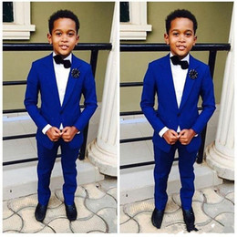 Wholesale Ivory Tuxedo For Boys - Royal Blue Kid's Formal Wear 2 Pieces Wedding Groom Tuxedos For Boys Custom Made Children Party Suits
