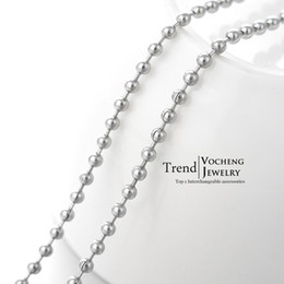 Wholesale Stainless Metal Beads - 60cm Silver Stainless Steel Beads Chain Lobster Clasp Metal Fadeless Necklace Accessoies (VC-020) Vocheng Jewelry