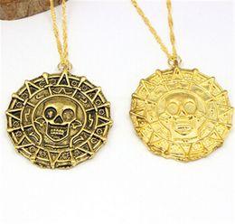 Wholesale Wholesale Pirate Caribbean Party - 700pcs sale 2 colors Pirate Necklace chain necklace pendant pirate coins Pirates of the Caribbean retro round skull captain Jack bronze D488