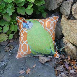Canada VEZO HOME brodé perroquet vert coton lin oiseau coussins du canapé jeter oreillers chaise siège maison decorative18 print