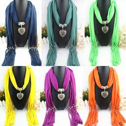 Wholesale Heart Pendant Scarves - FreeDHL Women Jewelry Beads drape Scarf Decoration Pendant Scarves mix Design Heart Pendants Scarfs top quality E83L
