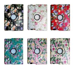 Wholesale Floral Ipad Cover Case Stand - 360 Degree Rotating Penoy Flower Floral Flip PU Leather Smart Cover Case With Stand For Apple iPad 2 3 4 5 6 Air Air2 Mini Mini4 iPad6