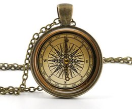 Wholesale Old Fashioned Necklaces - Vintage Compass Pendant Necklace - Old Fashioned Antique Style Picture Jewelry
