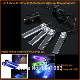 Wholesale Auto Interior Blue Led Lights - Universal New arrival 4 in 1 12V Car Auto Interior LED Atmosphere Lights Decoration Lamp Blue or Multi Color flashing free shipping