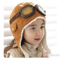 Wholesale Wholesale Outdoor Ear Flap Hats - children boys Vintage cotton winter keep warm flight Pilot Ear flap bomber hats kids outdoor Aviator glasses caps, brown black,