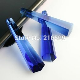 Wholesale Chandelier Decorations Christmas - 10PCS 63mm Blue Glass Icicle Crystal Prism for Chandelier Parts Home Christmas Wedding Decoration