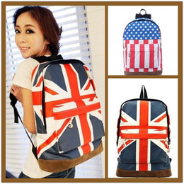 Wholesale Uk Backpack Bags - Free Ship 2015 New Fashion Retail Unisex Canvas Handbag Olympic American US UK Flag Star Banner Backpack School bags Schoolbags 32*43*14cm