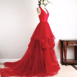 Wholesale Long Ruffled Formal Skirt - Gorgeous Red Halter Tulle Backless Prom Dresses V Neck Sleeveless Tiered Skirt Long Prom Dress Formal Evening Gowns Evening Dresses
