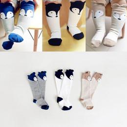 Wholesale Kids Knee Highs - 2015 Autumn New Design Babies Socks Cartoon Fox Ears Cotton Non-slip Knee Highs Socks For Kids 0-4T 15061