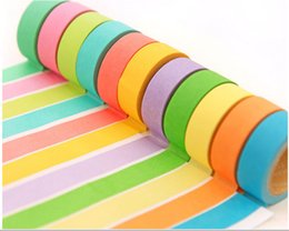 Wholesale Gummed Tape Wholesale - New Angoo Masking Tape Rainbow Washi Sticky Paper Masking DIY Adhesive Decorative Tape Can write hand gummed paper DHL Fast Shipping