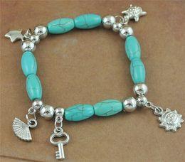 Wholesale Turquoise Star Bracelet - NEW fashion turquoise beads bracelets Vintage silver sun key star fan pendants charm bracelets Free shipping (B0104)