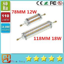 Wholesale R7s 118mm 12w - R7S Corn Light 2835SMD 12W 18W 78mm 118mm 220V-240V White WarmWhite LED bulbs halogen floodlights 360°cover CE UL