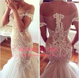Wholesale Wedding Dress Sweep Brush Lace - 2017 New Sexy Mermaid Wedding Dresses Off the Shoulder Sheer Lace Covered Button Brush Train Tulle Garden Wedding Gowns Custom Made 2D2001