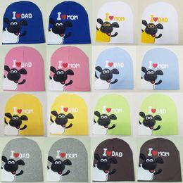 Wholesale Crocheted Boys Stocking Hat - stock Hats Caps Beanie Skull winter I love mama papa baby cap beanie kids Warm hat newborn 0-2 year baby boygrils crochet bonnet