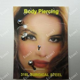 nose pierce jewelry Coupons - 3pcs 1Sets Wholesale Facial Piercing 316L Surgical Steel Nose Rings Eyebrow Jewelry Labret Bulk Lots LR227
