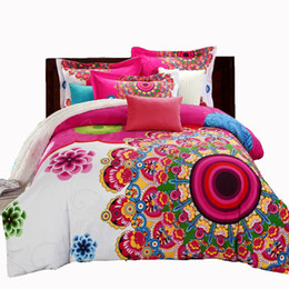 beds doubles Canada - Mandala Duvet Cover Sets Bohemian Style Boho Print Bedsheet Duvet Cover Pillowcase Adult Double Bed King Size 4pcs Bedding Set