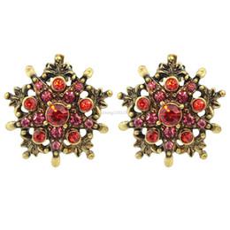 Wholesale 14k Gold Star Stud Earrings - Elegant Vintage Style Bronze with Red Rhinestone Star Stud Earrings For Women