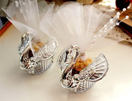 Wholesale Silver Swan Favors - 2015 New wedding favors Acrylic Silver Swan Sweet Wedding Gift Jewely Candy box Candy gift box Wedding Favors holders