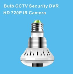Wholesale Cmos Bulb Cctv Security Cameras - NEW E27 bulb CCTV Security DVR HD 720P IR Camera with TF card slot, Bulb type camera